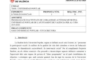 El Consell rector de #UPValència aprova la programació del curs 2019/20 – Acord descarregable