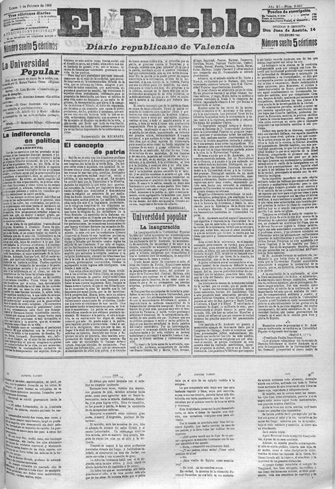 La UP en la prensa de 1903